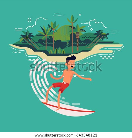 Cool vector surfer character in surf trunks with surfboard riding on ocean wave with exotic island on background. Recreational water sport flat design character on surfing. Man on surfing vacation