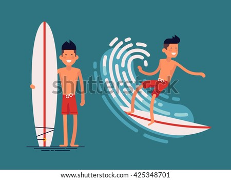 Cool vector surfer character in surf trunks with surfboard standing and riding on ocean wave. Recreational beach water sport flat design character on surfing. Man on surfing vacation. Surf travel