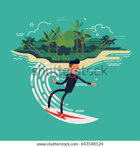 Cool vector surfer character in wetsuit with surfboard riding on ocean wave with tropical island on background. Recreational beach water sport flat design character on surfing. Surf travel