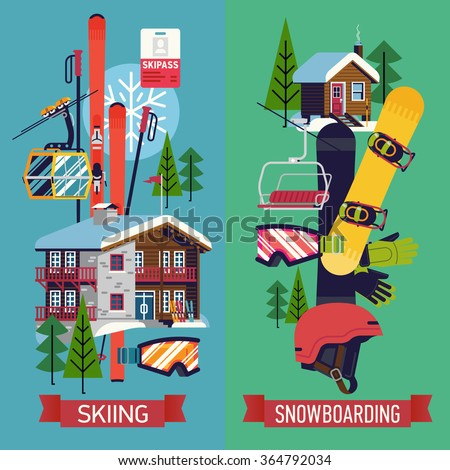 Cool vector vertical web banners posters or flyer for Ski designhotel