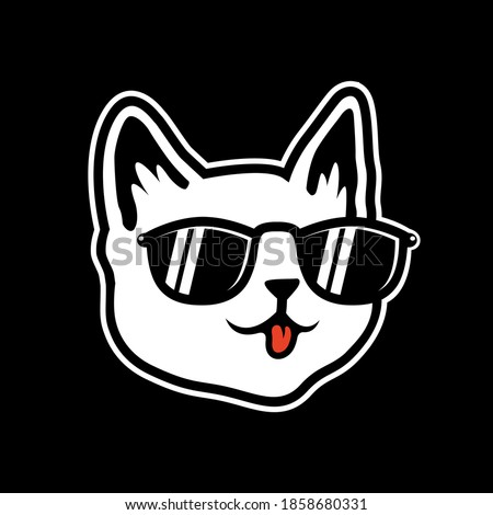 cool white cat face wearing