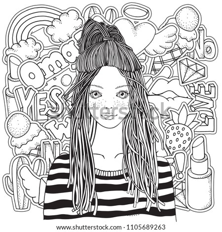 Cool yong girl in a striped sweater. Coloring book page for adult with Fashion Patch Badges in cartoon 80 s-90 s comic doodle style. Black and white.