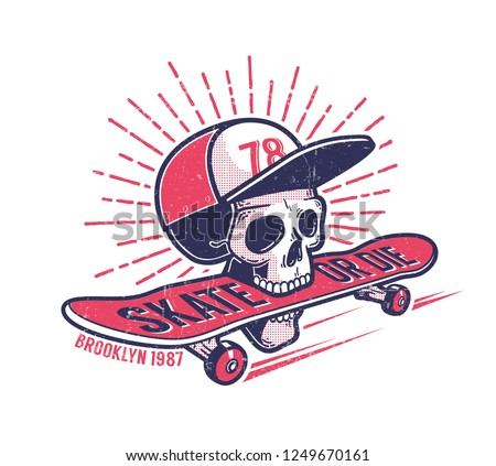 Cool youth skateboarding authentic retro street emblem with skull in baseball cap and  skateboard. Grunge worn texture on separate layer.