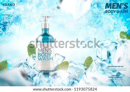 Cooling men's body wash with mint leaves, 3d illustration on frozen background