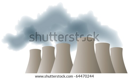 cooling towers with smoke  steam