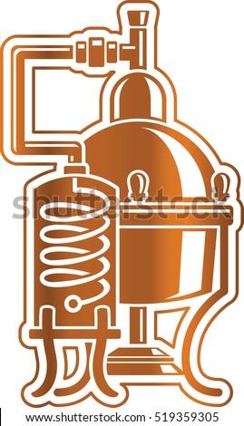 Cooper alcohol distillation unit alembic.   Сток-фото ©