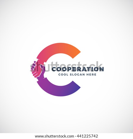 Cooperation Abstract Vector Sign, Symbol or Logo Template. Hand Shake Incorporated in Letter C Concept. Isolated.