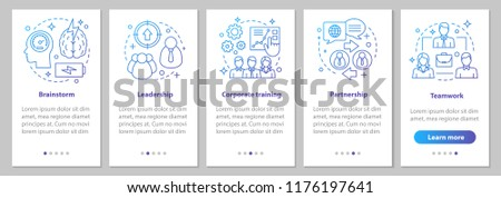 Cooperation and interaction onboarding mobile app page screen with linear concepts. Teamwork, corporate training, brainstorm, leadership, partnership steps instruction. UX, UI, GUI vector illustration