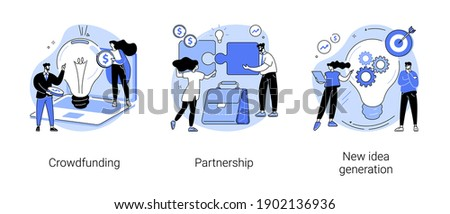 Cooperation and teamwork abstract concept vector illustration set. Crowdfunding and partnership, new idea generation, collect donations, business venture, entrepreneurship success abstract metaphor.