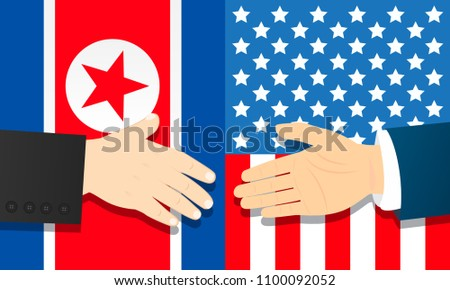Cooperation between North Korea and USA vector illustration. Ready handshake with flags background.