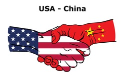 Cooperation between the USA and China. Handshake, Background of the flags of the United States of America and China. Colored Vector illustration.