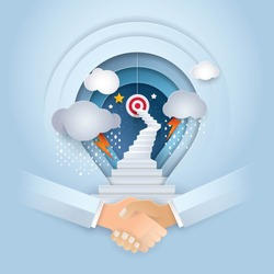 Cooperation, Business Concept of thinking for development, shake hands and Light bulb Background,Work Together,stairway to the target, Challenge,Trouble, obstacles, growth to success,Paper art vector