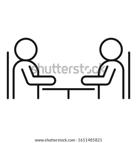 Cooperation discussion icon. Outline cooperation discussion vector icon for web design isolated on white background