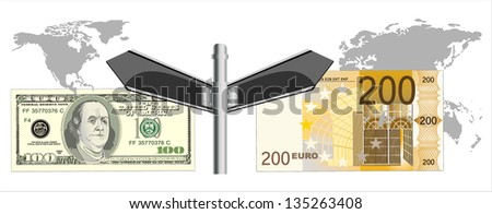 Cooperation euro and dollar. Conceptual image.