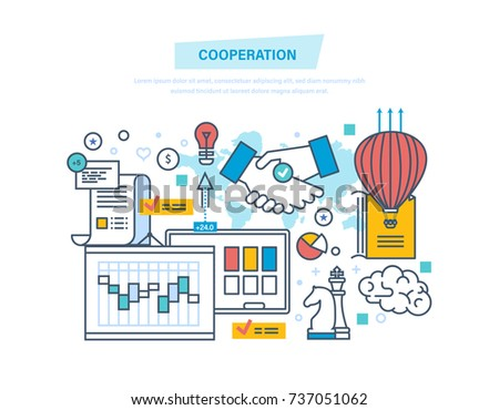Cooperation, group collaboration, partnerships, teamwork, marketing and integrated approach to discussion of issues and common issues, business deal. Illustration thin line design of vector doodles