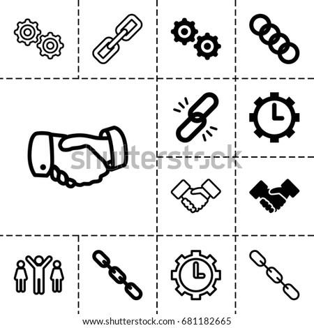 cooperation icon set of 13