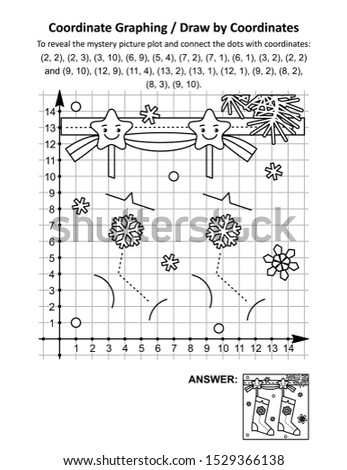 Coordinate graphing, or draw by coordinates, math worksheet with christmas stockings: To reveal the mystery picture plot and connect the dots with given coordinates. Answer included.