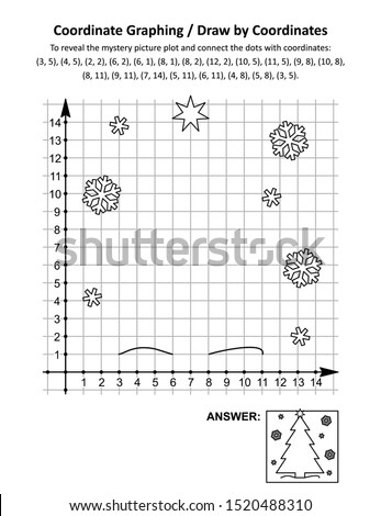 Coordinate graphing, or draw by coordinates, math worksheet with christmas tree: To reveal the mystery picture plot and connect the dots with given coordinates. Answer included.