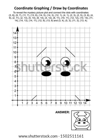 Coordinate graphing, or draw by coordinates, math worksheet with cute young bull or cow: To reveal the mystery picture plot and connect the dots with given coordinates. Answer included.