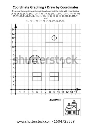 Coordinate graphing, or draw by coordinates, math worksheet with old village house: To reveal the mystery picture plot and connect the dots with given coordinates. Answer included.