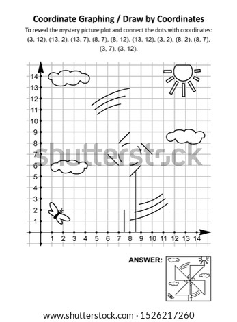 Coordinate graphing, or draw by coordinates, math worksheet with pinwheel toy: To reveal the mystery picture plot and connect the dots with given coordinates. Answer included.
