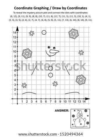 Coordinate graphing, or draw by coordinates, math worksheet with snowman wearing Santa cap: To reveal the mystery picture plot and connect the dots with given coordinates. Answer included.