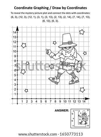"""Coordinate graphing, or draw by coordinates, math worksheet with St Patrick's Day mystery picture """"L is for Leprechaun"""": To reveal the mystery picture plot and connect the dots with given coordinates."""