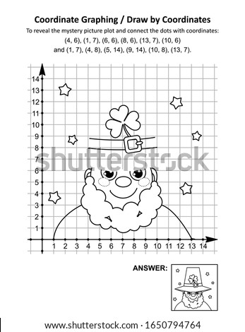 Coordinate graphing, or draw by coordinates, math worksheet with St Patrick's Day mystery picture of leprechaun's top hat: To reveal the mystery picture plot and join the dots with given coordinates