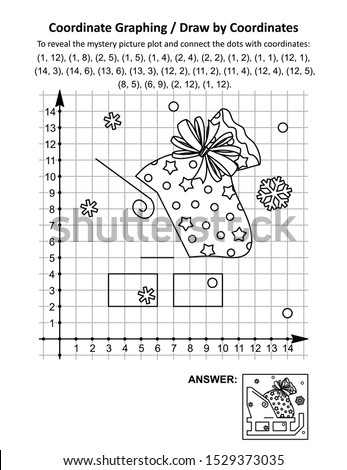 Coordinate graphing, or draw by coordinates, math worksheet withSanta's sack on the sleigh: To reveal the mystery picture plot and connect the dots with given coordinates. Answer included.