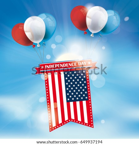 coored balloons with us flag on