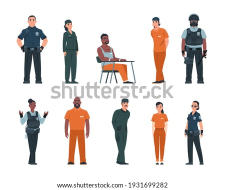 Cope and bandit. Cartoon police officers and arrested people in handcuffs. Isolated convicted men or women wear orange uniform in jail. Prison staff guard criminals. Vector prisoners and policemen set Foto stock ©