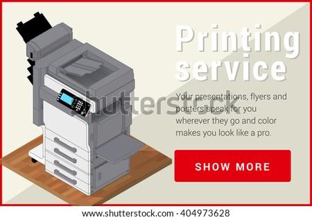 Copier printer isometric flat vector 3d illustration. Vector illustration realistic printer and scanner. Printer flat icon.