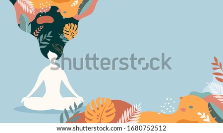 Coping with stress and anxiety with mindfulness, meditation and yoga. Vector background in pastel vintage colors with a woman sitting cross-legged and meditating. Vector illustration Photo stock ©