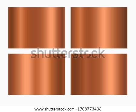 Copper foil texture background. Vector golden shine metallic gradient template. Copper antique color set for border, frame, ribbon design.