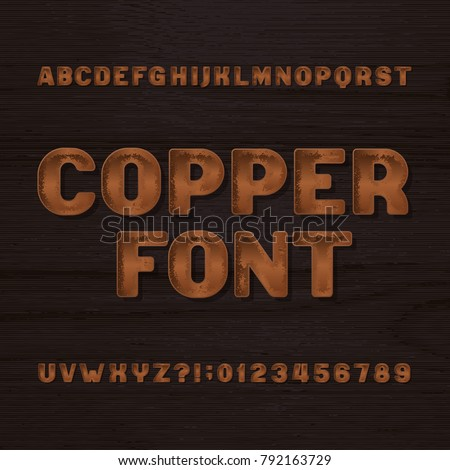 Copper metal typeface. Retro alphabet font. Metallic letters and numbers on a dark rough background. Stock vector vintage typeset for your headers or any typography design. #792163729