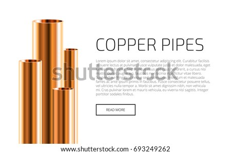 Copper or Bronze pipes of different diameters isolated on white background. Industrial web Presentation Template. Glossy 3d Copper Tubes design. Vector illustration.