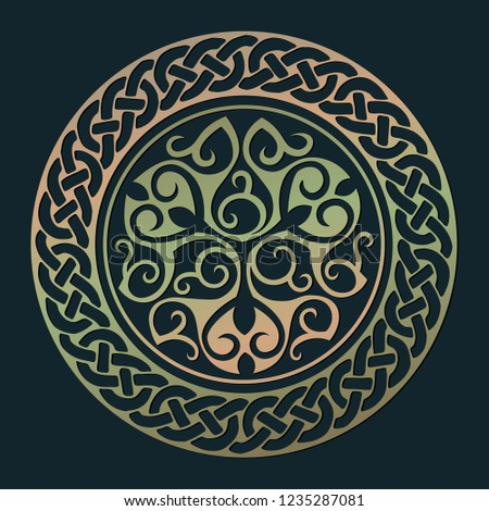 Copper patina round symbol with celtic elements. Vector illustration isolated on the dark background.