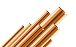 Copper pipes of different diameters isolated on white background. Glossy 3d Bronze Tubes design. Industrial Vector illustration.