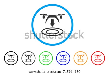 Shutterstock Copter Arrival icon. Vector illustration style is a flat iconic copter arrival gray rounded symbol inside light blue circle with black, gray, green, blue, red, orange color versions.