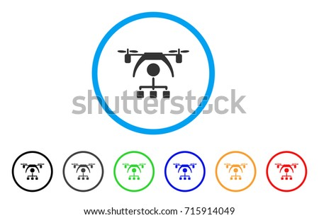Shutterstock Copter Distribution Scheme icon. Vector illustration style is a flat iconic copter distribution scheme grey rounded symbol inside light blue circle with black, gray, green, blue, red,