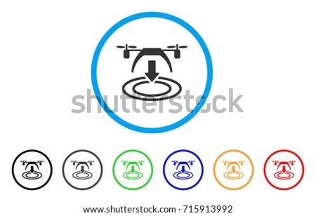 Shutterstock Copter Landing icon. Vector illustration style is a flat iconic copter landing grey rounded symbol inside light blue circle with black, gray, green, blue, red, orange color variants.
