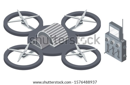 Copter with remote controller, wireless device with propellers, quadcopter symbol, aircraft with remotely radio controlled flying robots, discovery air robot for video and photo, multicopter vector