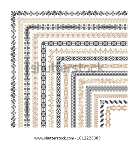 Coptic ornament frame border vector corners. Border corner frame decorative illustration #1012223389