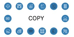 copy icon set. Collection of Cloud, Plotter, Document, Film strip, Cassette, Compact disc, Price tag, Editor, Cds icons
