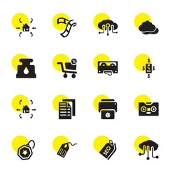 copy icons. Editable 16 copy icons. Included icons such as Cloud, Tags, Tag, Cassette, Print, Copy, Export, Bargain, Ink, Film Strip, Import. trendy icons for web.