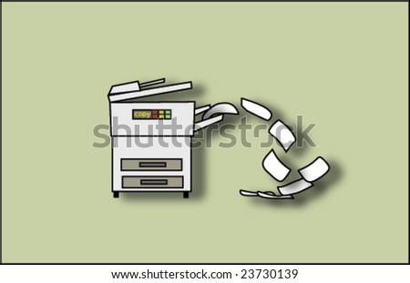 Copy machine spitting out paper