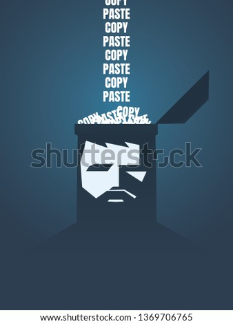 Copy paste vector concept with person's brain loading with the same text. Symbol of repetition, routine, mundane, boring job. Eps10 vector illustration.