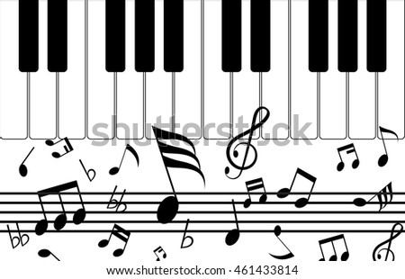 copy space concept,silhouette music and notes icon of set with isolated on white background,design black note for wallpaper decoration and backdrop