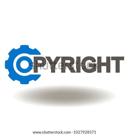 copyright gear text icon vector