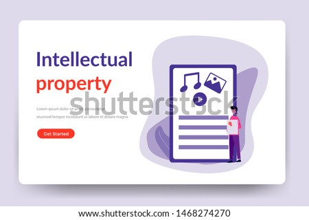 Copyright.Intellectual property.information protection with trademark and copyright vector illustration concept for web landing page template, banner, flyer and presentation